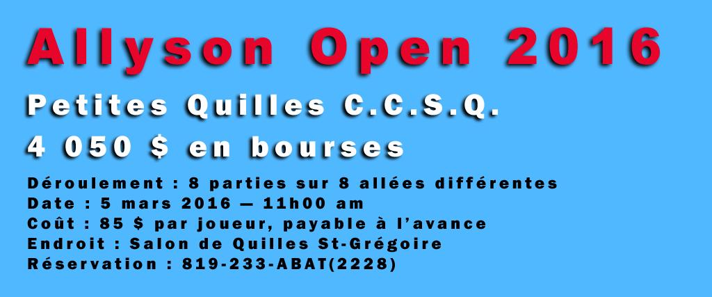 Place au Allyson Open 2016 !