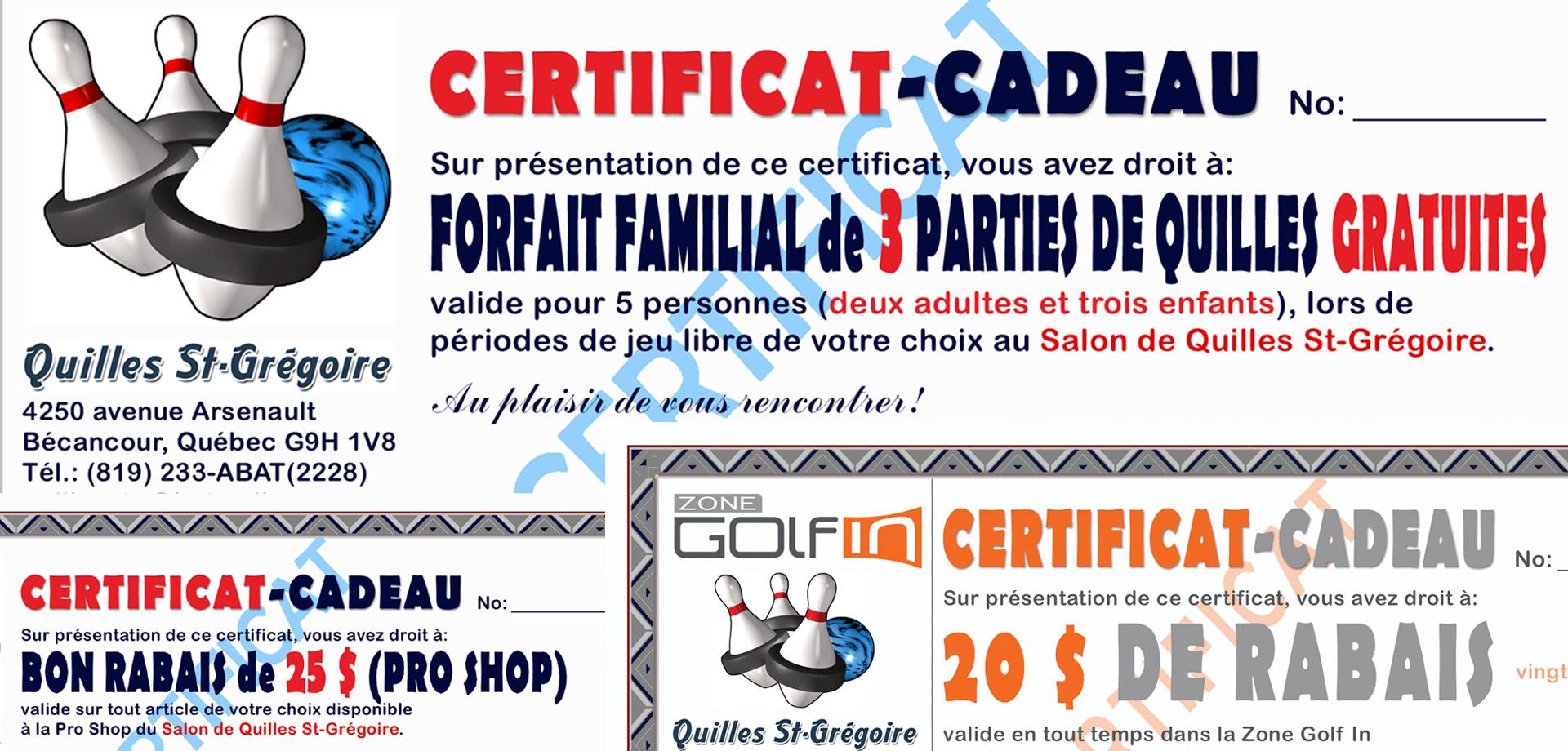 Quilles St-Grégoire Certificats-cadeaux