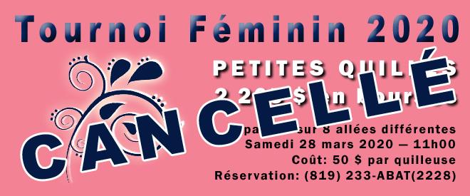 Cancellation du Tournoi Féminin 2020